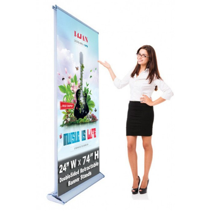 Double Sided 24 x 74 Retractable - Roll up Banner Stand